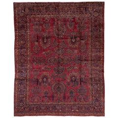 Antique Persian Sarouk Rug, Bright Red Field, Gold and Blue Accents, Medium Pile