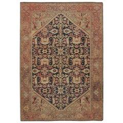 Antique Persian Sarouk Rug, circa 1900, 4'6 x 7'7