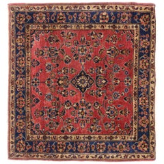Antique Persian Sarouk Rug, Square Accent Rug