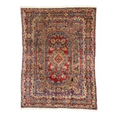 Antique Persian Sarouk Rug with Floral Victorian Style
