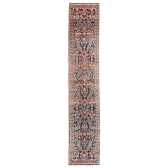 Antique Persian Sarouk Rug with Navy, Orange Wool and a Floral Design