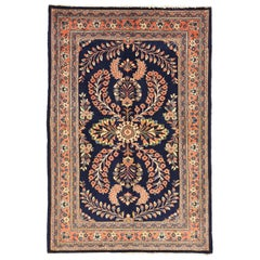 Persian Sarouk Rug with Red & Ivory 'Flower Bouquet' Details over Blue F