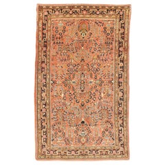 Antique Persian Sarouk Rug with Red & Navy Floral Details on Pink Field