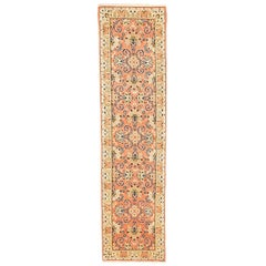 Antique Persian Sarouk Runner Rug with Navy & Ivory Flower Details