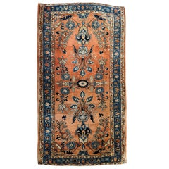 Antique Persian Sarouk, silky wool All-Over Design on Rust Field, Wool, 3x5 1915