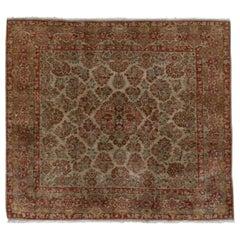 Antique Persian Sarouk Square Carpet, Red & Green Tones, Rare Size