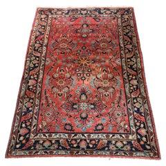 Antique Persian Sarouk Wool Oriental Rug, circa 1920
