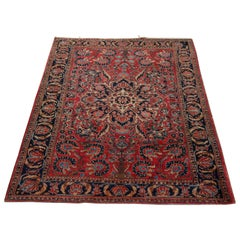 Antique Persian Sarouk Wool Oriental Rug, circa 1920