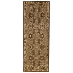 Antique Persian Saveh Runner Rug with Beige and Brown Tribal Field
