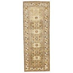 Antique Persian Saveh Runner Rug with Brown and Ivory Geometric Patterns
