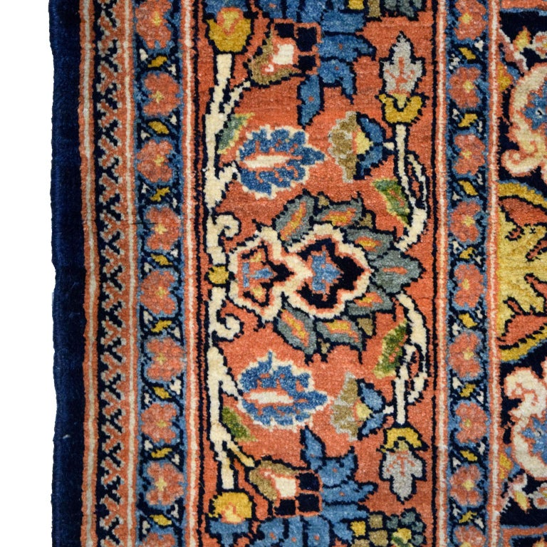 Antique Persian Semnan Carpet in Cream, Black, and Pink Wool For Sale 5