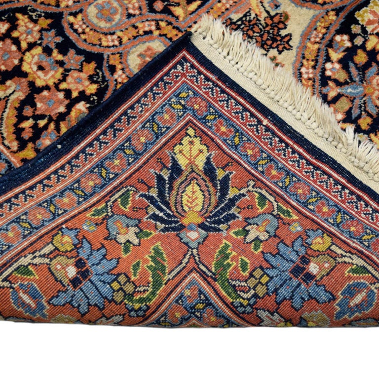 Antique Persian Semnan Carpet in Cream, Black, and Pink Wool For Sale 6