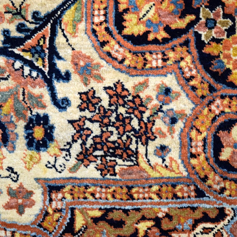 Antique Persian Semnan Carpet in Cream, Black, and Pink Wool In Good Condition For Sale In New York, NY