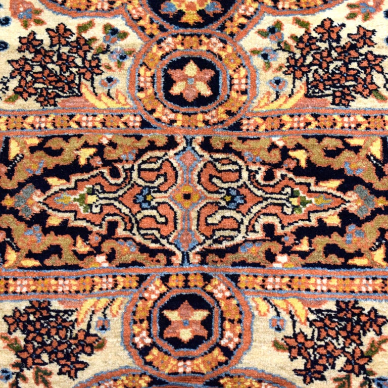 Mid-20th Century Antique Persian Semnan Carpet in Cream, Black, and Pink Wool For Sale