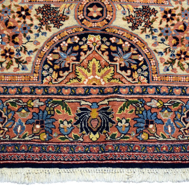 Antique Persian Semnan Carpet in Cream, Black, and Pink Wool For Sale 2