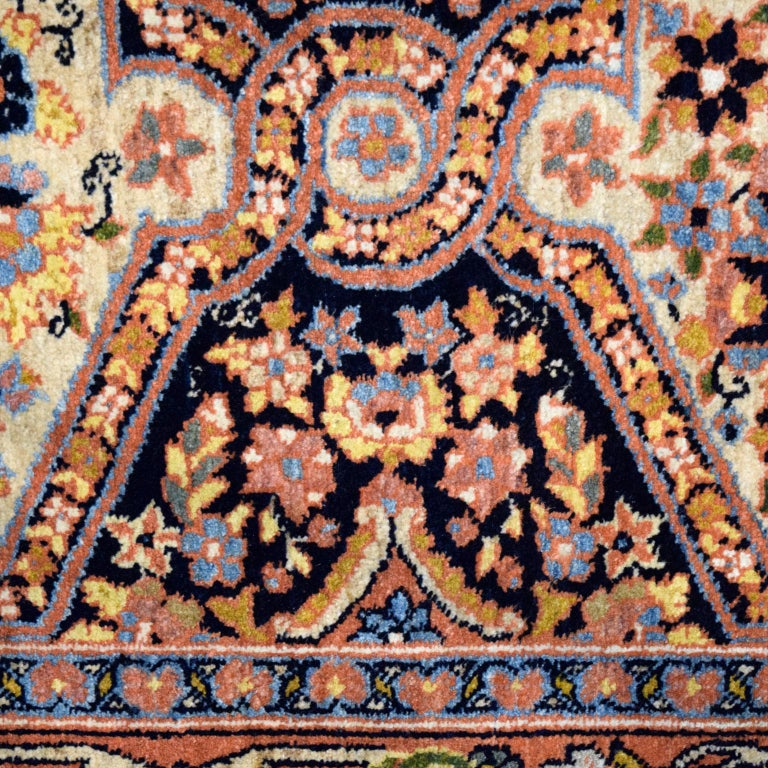 Antique Persian Semnan Carpet in Cream, Black, and Pink Wool For Sale 4