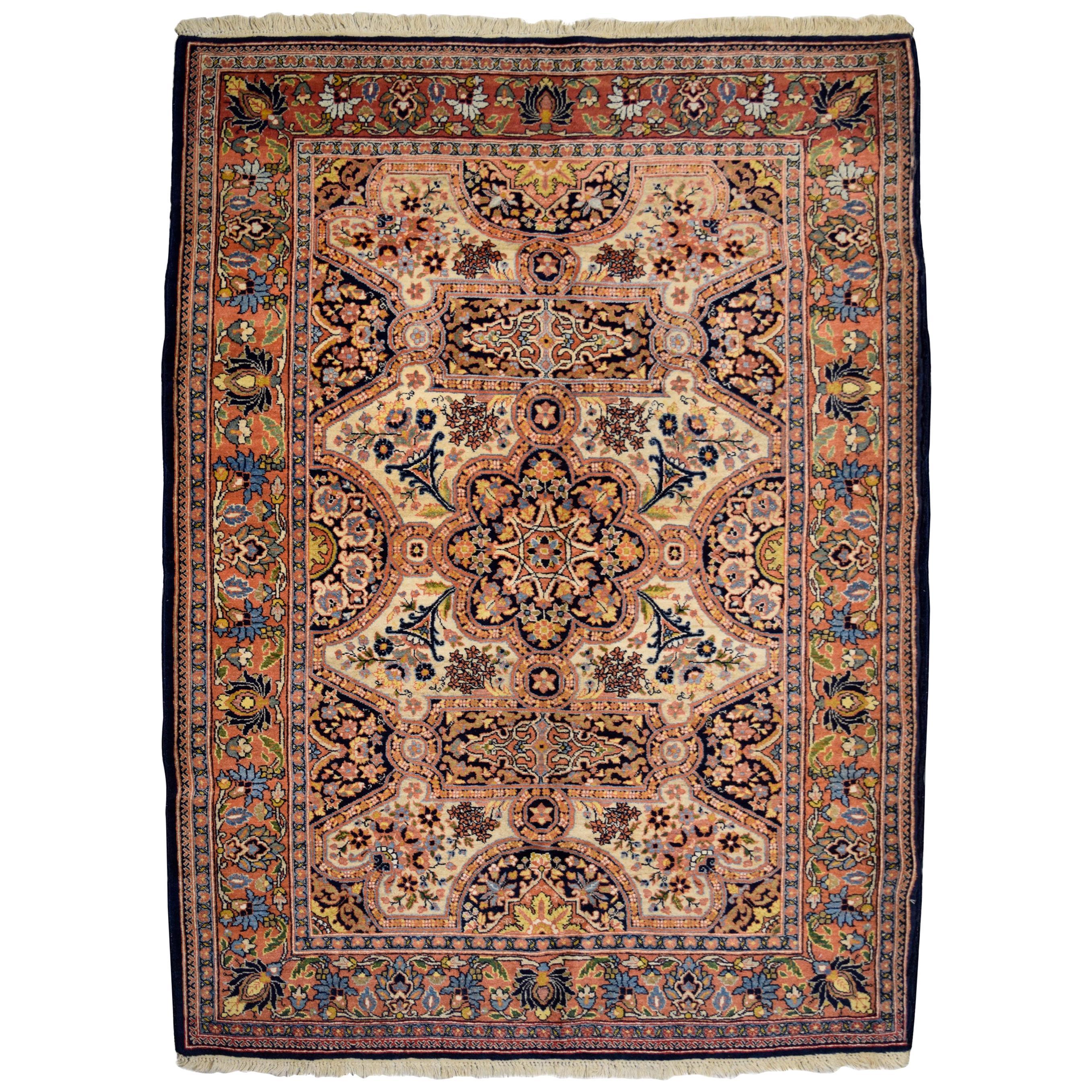 Antique Persian Semnan Carpet in Cream, Black, and Pink Wool