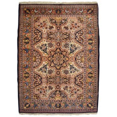 Antique Persian Semnan Carpet in Cream, Black, and Pink Wool
