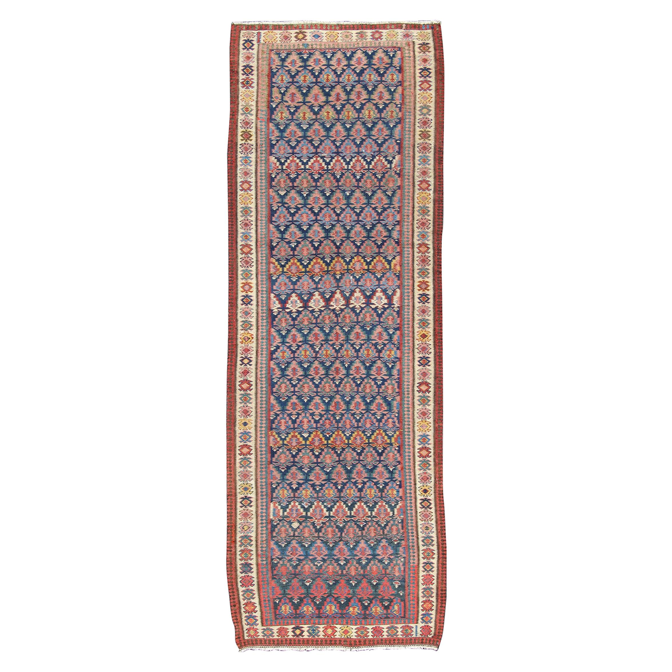 Antique Persian Seneh Kilim Gallery Runner with Geometric and Floral Design