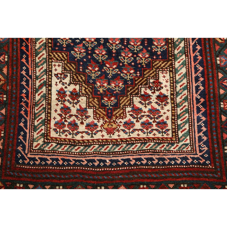 Early 20th Century Antique Persian Senneh Carpet in Handspun Wool and Vegetable Dyes 5' x 8' For Sale