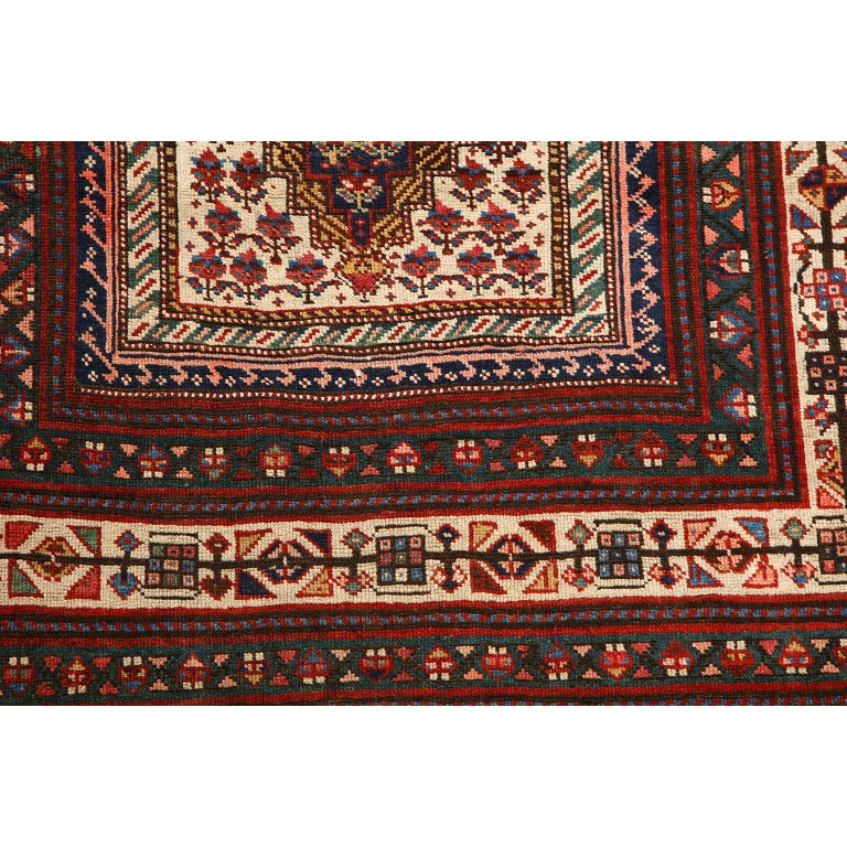 Antique Persian Senneh Carpet in Handspun Wool and Vegetable Dyes 5' x 8' For Sale 1