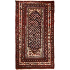 Antique Persian Senneh Carpet in Pure Handspun Wool and Vegetable Dyes circa 190