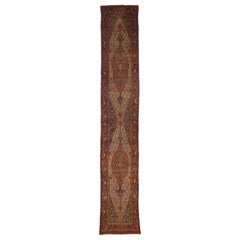 Antique Persian Senneh Long Hallway Runner with Modern Victorian Style