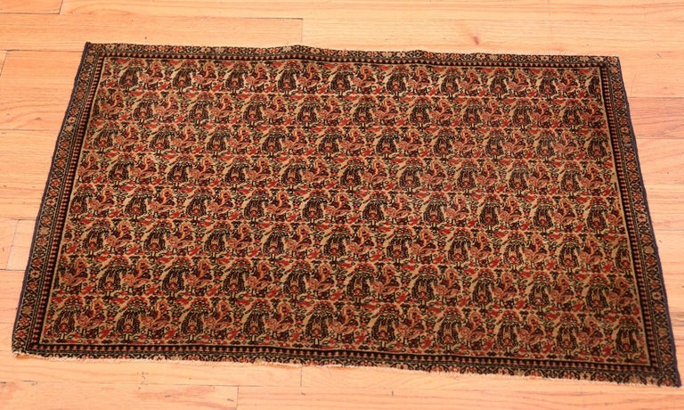 Hand-Knotted Antique Persian Senneh Rug For Sale