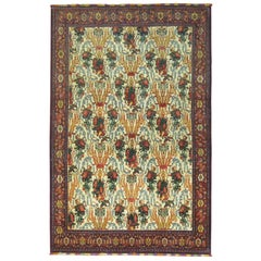 Antique Persian Senneh Rug with Silk Highlights and Fringes