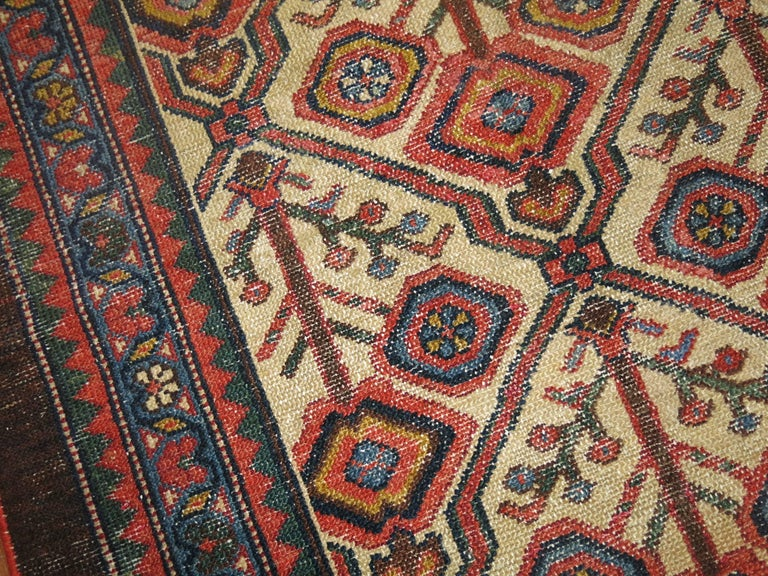 Hand-Woven Antique Persian Serab Decorative Rug Mat For Sale