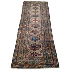 Antique Persian Serab, Geometric Design, Rust on Camel, Wool, Runner 1910 3-5x9