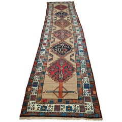 Antique Persian Serab, Geometric Design, Rust on Camel, Wool, Runner, 1930 3x12