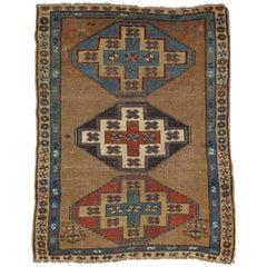 Antique Persian Serab Rug, Handmade Wool Oriental Rug, Red, Ivory, Camel, Blue