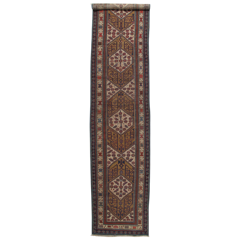 Antique Persian Serab Runner, Handmade Wool Oriental Rug, Red, Ivory, Brown