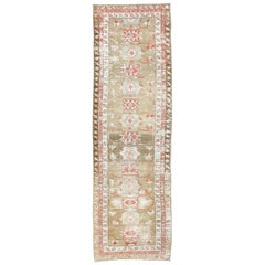 Antique Persian Serab Runner with Geometric Medallion Design in Green and Gold
