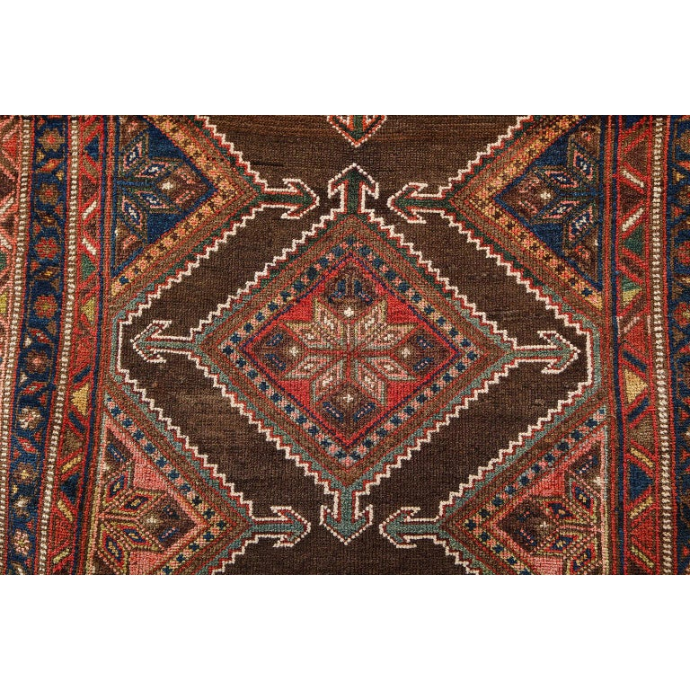 Vegetable Dyed Antique Persian Seraband Carpet in Pure Wool and Vegetable Dyes, circa 1900 For Sale