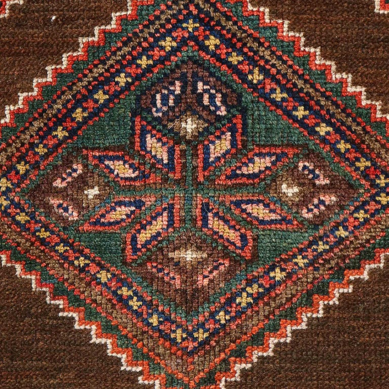 Early 20th Century Antique Persian Seraband Carpet in Pure Wool and Vegetable Dyes, circa 1900 For Sale