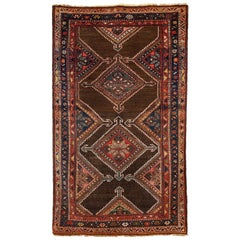 Antique Persian Seraband Carpet in Pure Wool and Vegetable Dyes, circa 1900