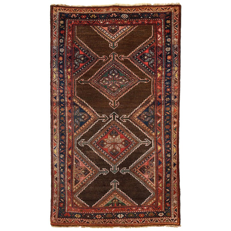 Antique Persian Seraband Carpet in Pure Wool and Vegetable Dyes, circa 1900 For Sale