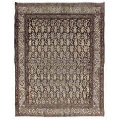 Antique Persian Seraband Rug with All-Over Tribal Design in Brown's