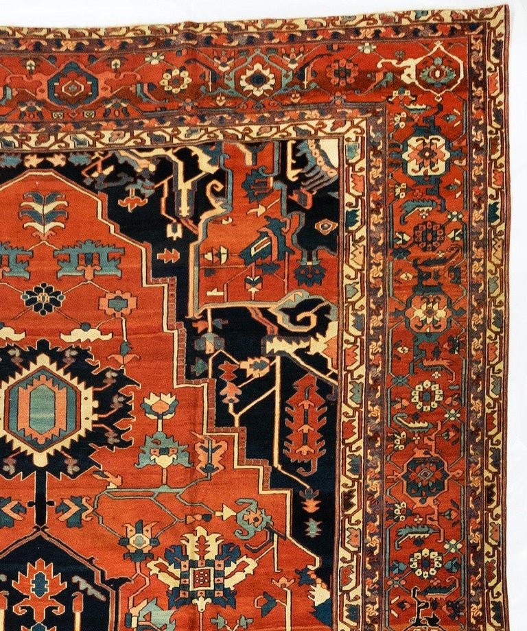 Hand-Knotted Antique Persian Serapi Carpet, circa 1880-1900 For Sale