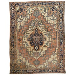 Antique Persian Serapi Carpet, Geometric, Ivory Hand Knotted Wool Oriental Rug