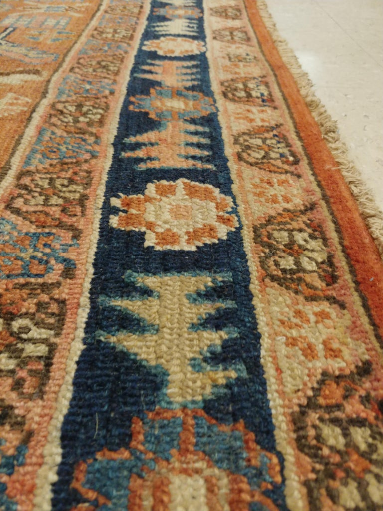 Hand-Knotted Antique Persian Serapi Carpet, Handmade Oriental Rug, Rust-Ivory Blue For Sale