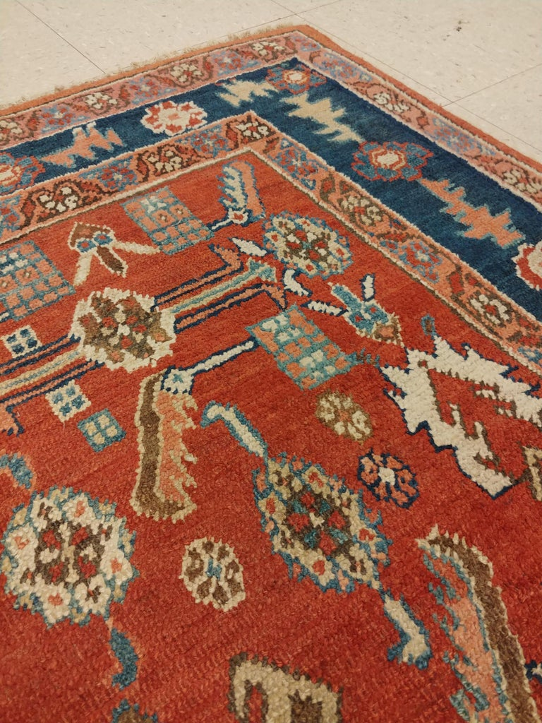 Antique Persian Serapi Carpet, Handmade Oriental Rug, Rust-Ivory Blue In Good Condition For Sale In New York, NY