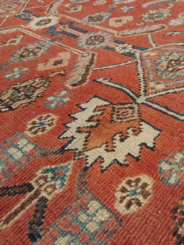 Antique Persian Serapi Carpet, Handmade Oriental Rug, Rust-Ivory Blue For Sale 2