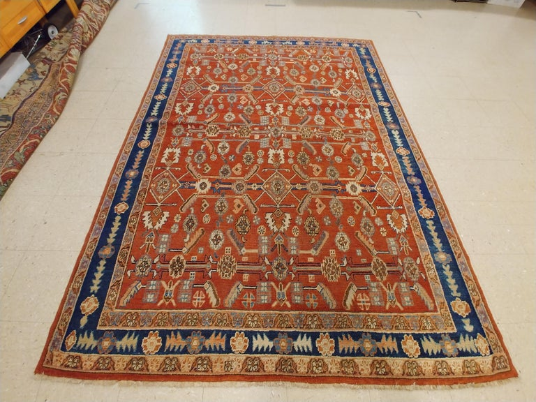 Antique Persian Serapi Carpet, Handmade Oriental Rug, Rust-Ivory Blue For Sale 3