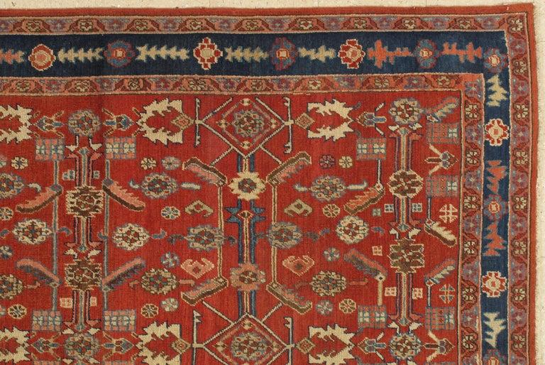 Bakshaish Antique Persian Serapi Carpet, Handmade Oriental Rug, Rust-Ivory Blue For Sale