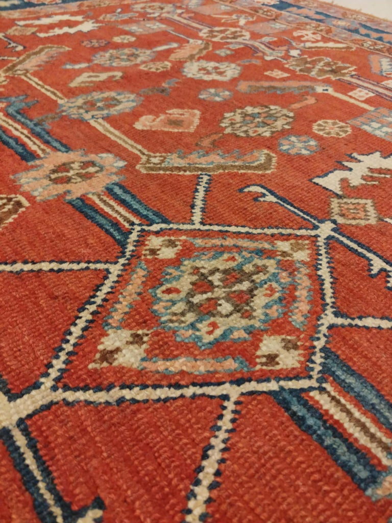 19th Century Antique Persian Serapi Carpet, Handmade Oriental Rug, Rust-Ivory Blue For Sale