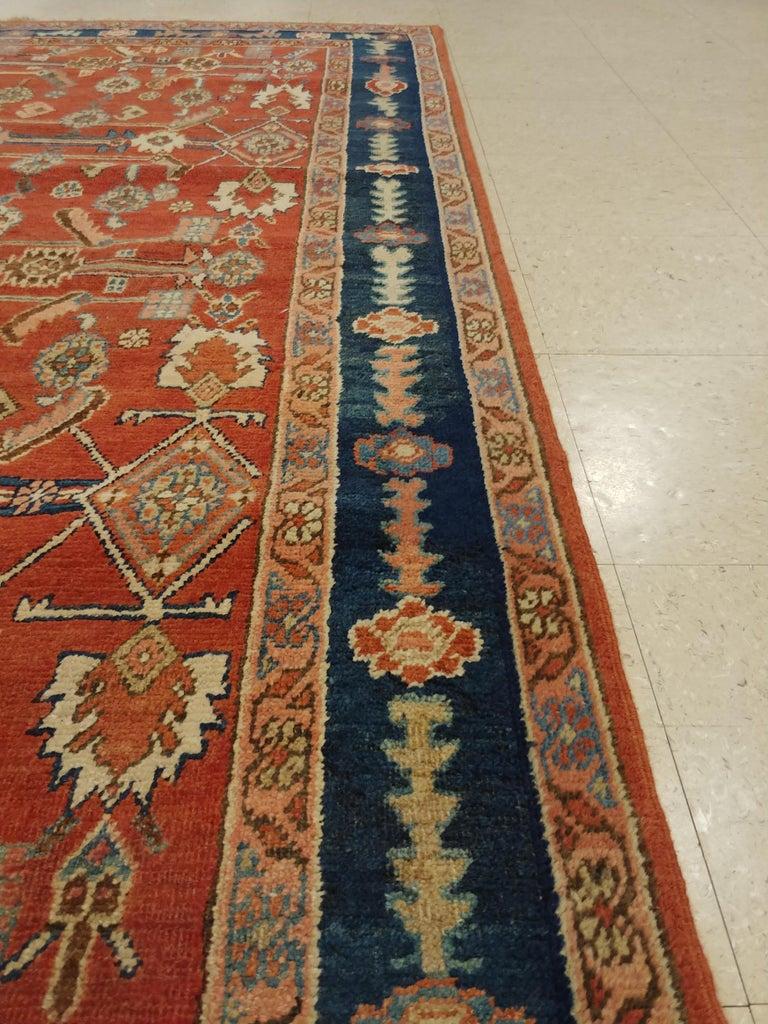 Antique Persian Serapi Carpet, Handmade Oriental Rug, Rust-Ivory Blue For Sale 1