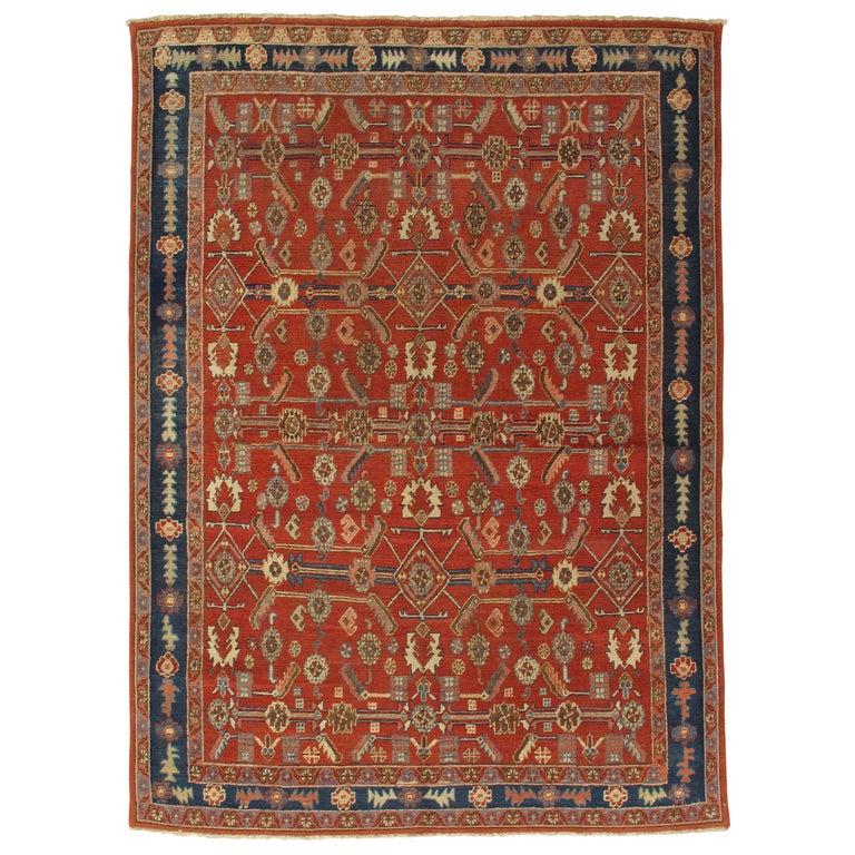 Antique Persian Serapi Carpet, Handmade Oriental Rug, Rust-Ivory Blue For Sale